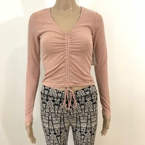 New Womens Ruched Long Sleeve Scoop Neck Crop Top